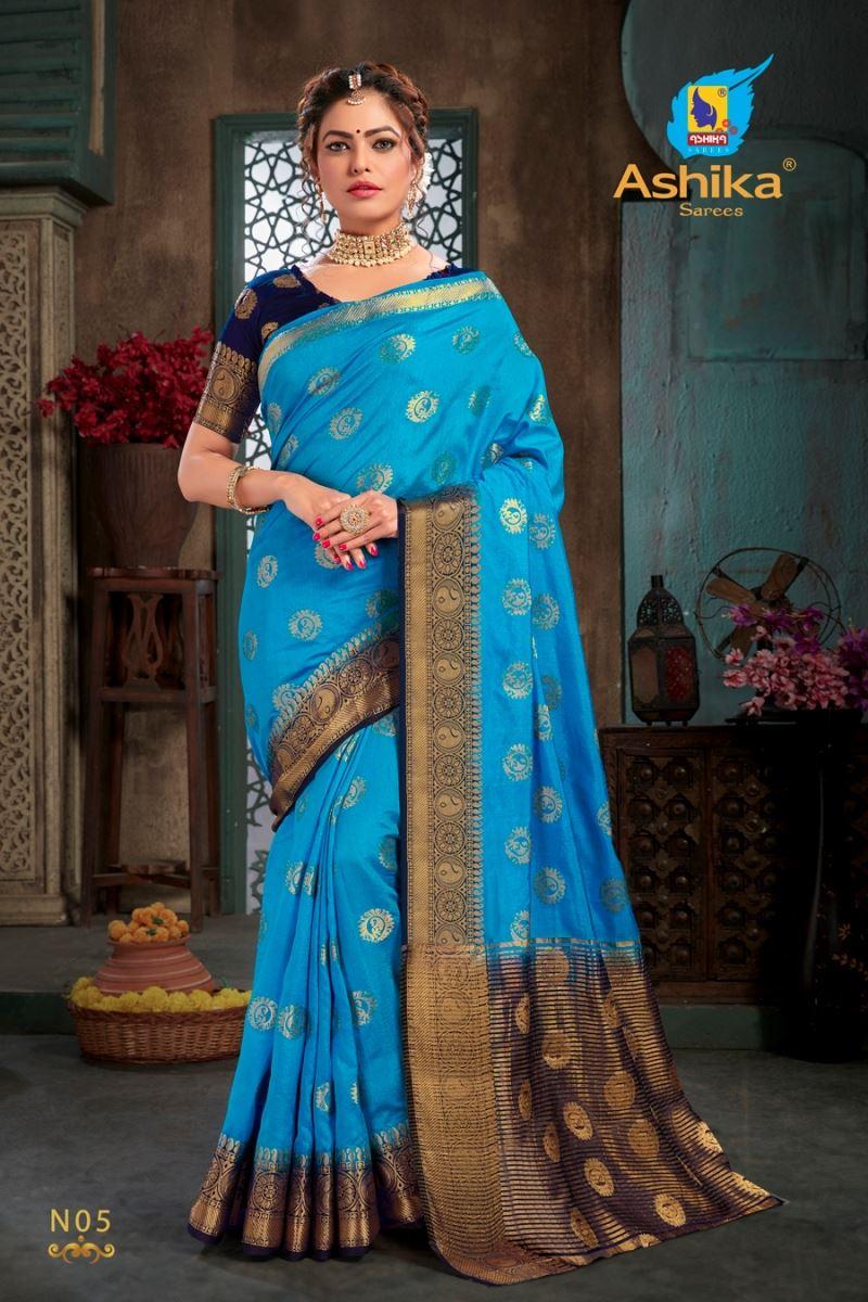Sky Blue Colour Silk Saree