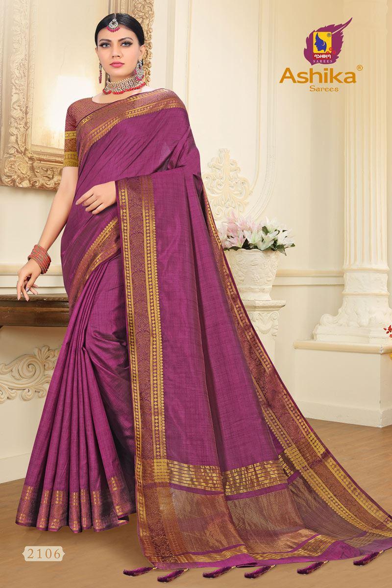 Purple Tussar Silk Fabric Function Wear Fancy Zari Work Saree