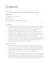 Carnotite Reduction Company Site Community Meeting
