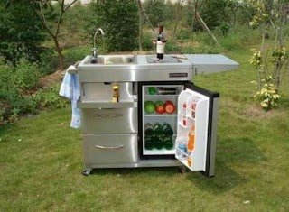 Outdoor Kitchen Cart with Mini Refrigerator and Also Faucet And