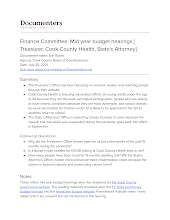 Finance Committee: Mid year budget hearings [ Treasurer, Cook County Health, State's Attorney]