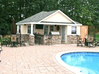 Pool House Designs with Outdoor Kitchen Backyard And