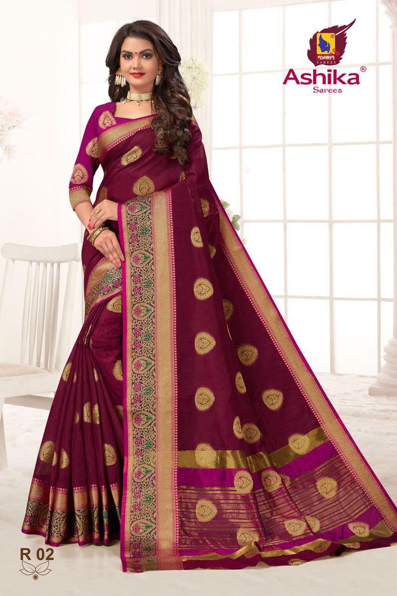 Maroon Color Weaving Work Function Wear Weaving Work Stylish Saree