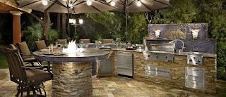 Outdoor Kitchen Decor Exteriorsmodern with Round Laminated Dining