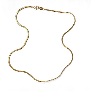 14K Gold Flat Box Chain Necklace