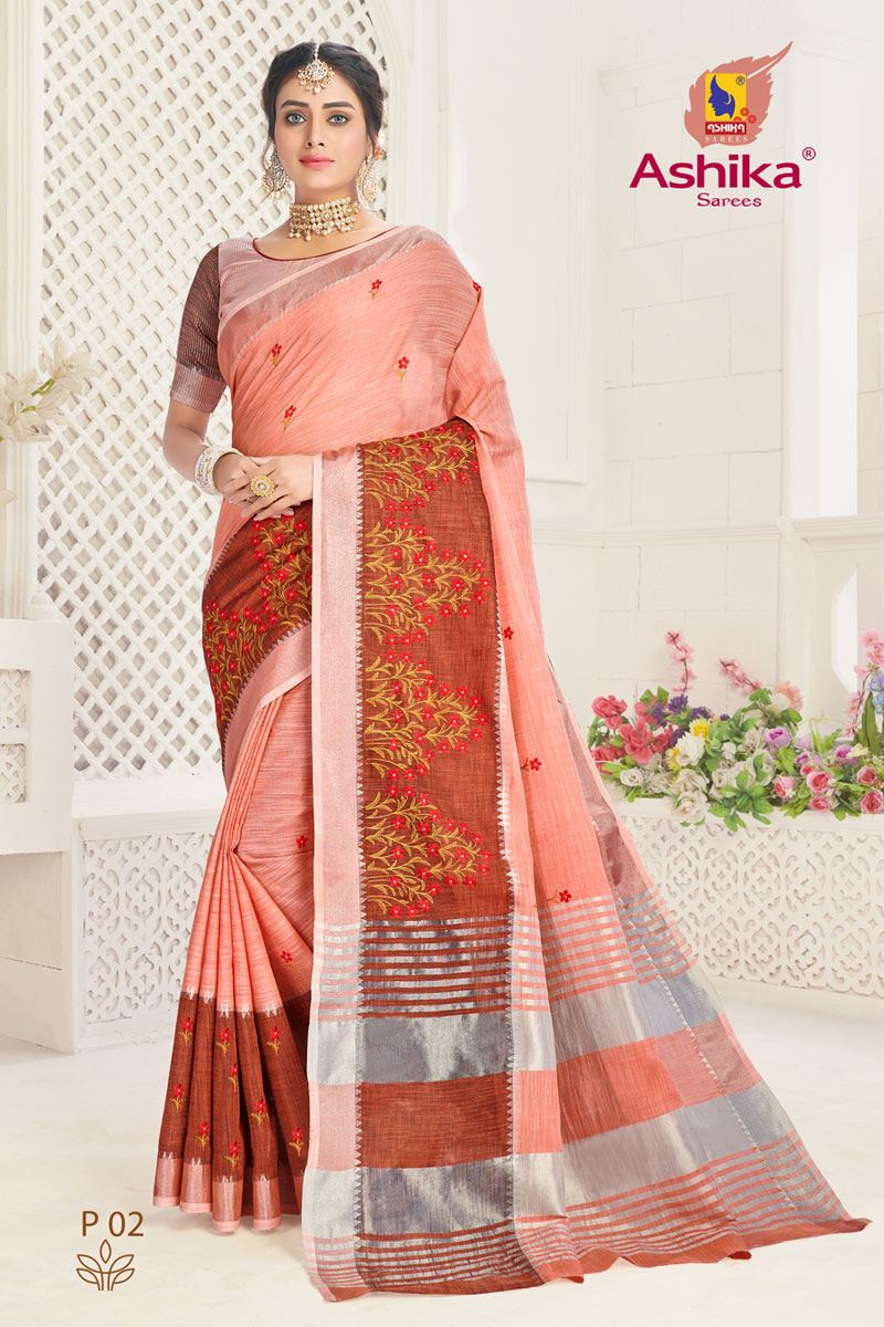 Peach Color Linen Fabric Embroidered Daily Wear Simple Saree