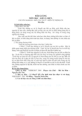 Bài Giảng Khí Cụ Điện - Nhiều Tác Giả, 94 Trang.pdf