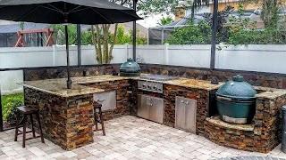 Outdoor Kitchen Stone Veneer Design