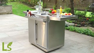 Outdoor Kitchen Beverage Center Okc158 Cart with Fridge Sink And