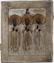 """Icoana """"Trei Ierarhi: Vasile, Nicolae, Grigorie"""", sec al XIX-lea, Rusia"""