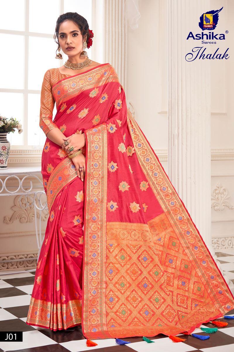 Pink Color Silk Fabric Weaving Work Designer Saree