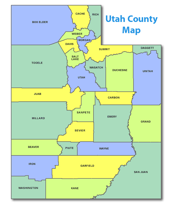 Utah State Map with Counties