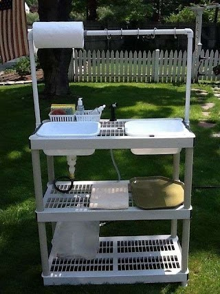 Outdoor Camping Kitchen DIY Camp Wworking Sink Tutorial Made From a Stacking