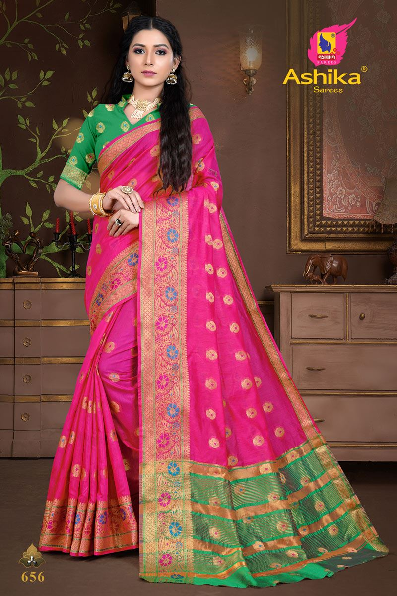 Rani Color Cotton Silk Fabric Weaving Work Wedding Wear Saree