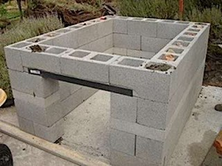 Cinder Block Outdoor Kitchen Construction Masonry Wood Kits Prefab