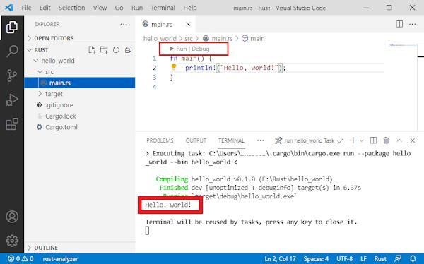Rust VS Code Hello World