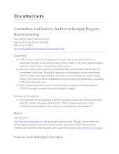 Committee on Finance, Audit and Budget; Regular Board meeting