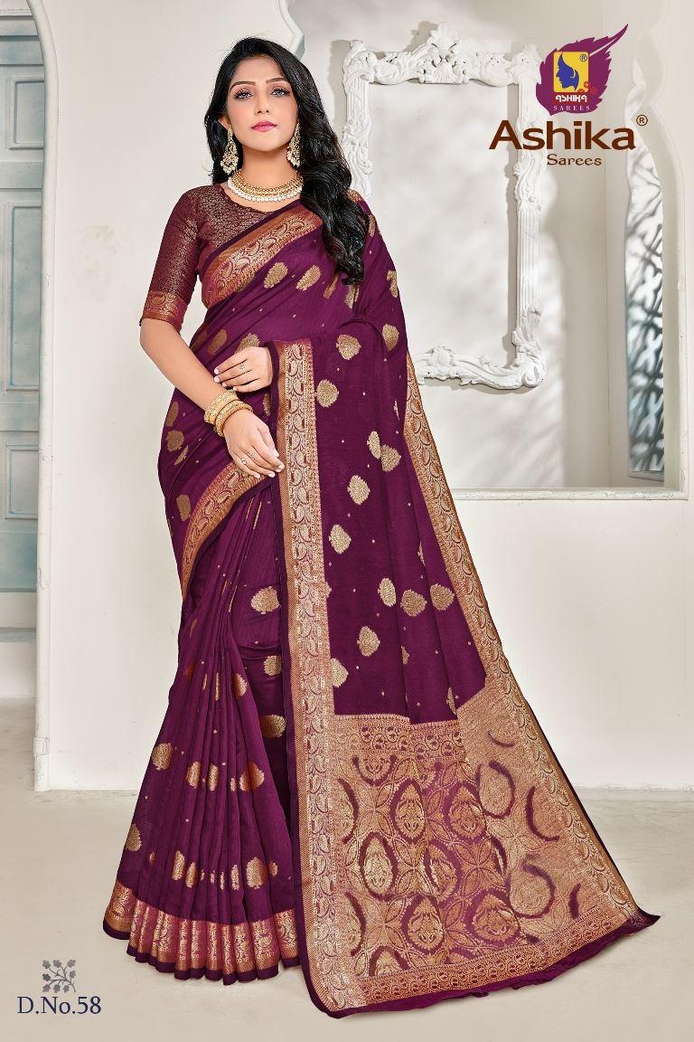 Magenta Colour linen Fabric Fancy Saree