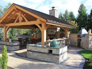 Covered Outdoor Kitchen Rustic with Bar Hgtv