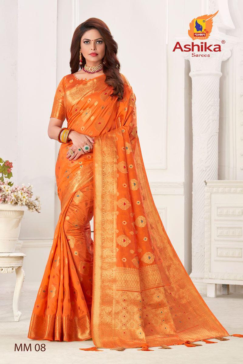 Orange Color Silk Fabric Festive Wear Zari Work Saree