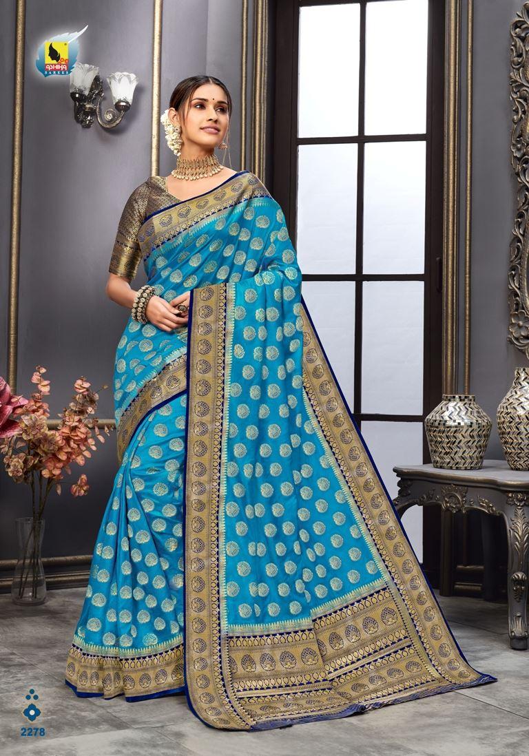 Firoji Color Tussar Silk Fabric Fancy Saree