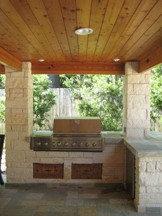 Limestone Outdoor Kitchen Columns and in Houston Texas with Tongue