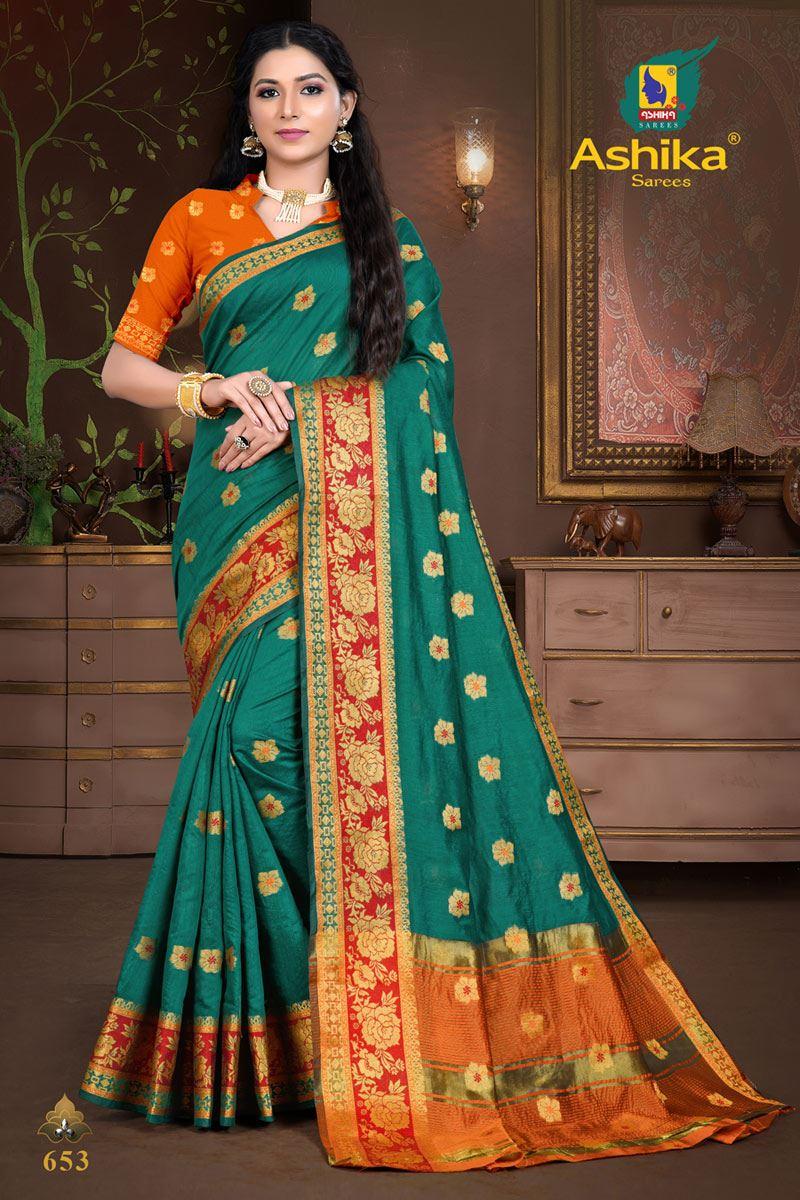 Teal Color Cotton Silk Fabric Weaving Work Wedding Wear Saree