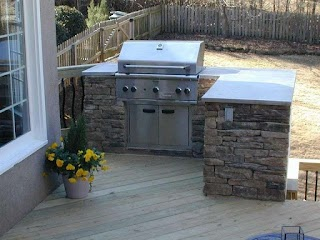 Built in Outdoor Kitchen Grills Plans on Deck