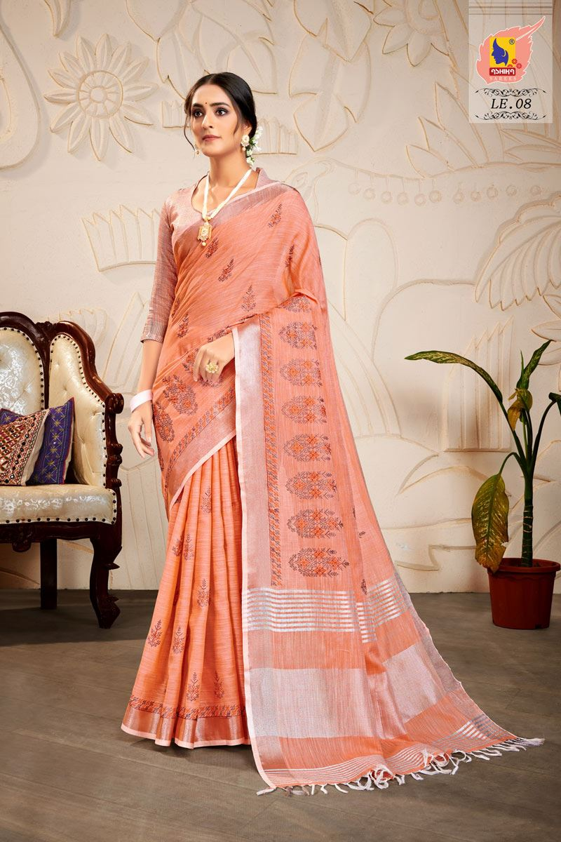 Peach Embroidered Linen Fabric Fancy Saree