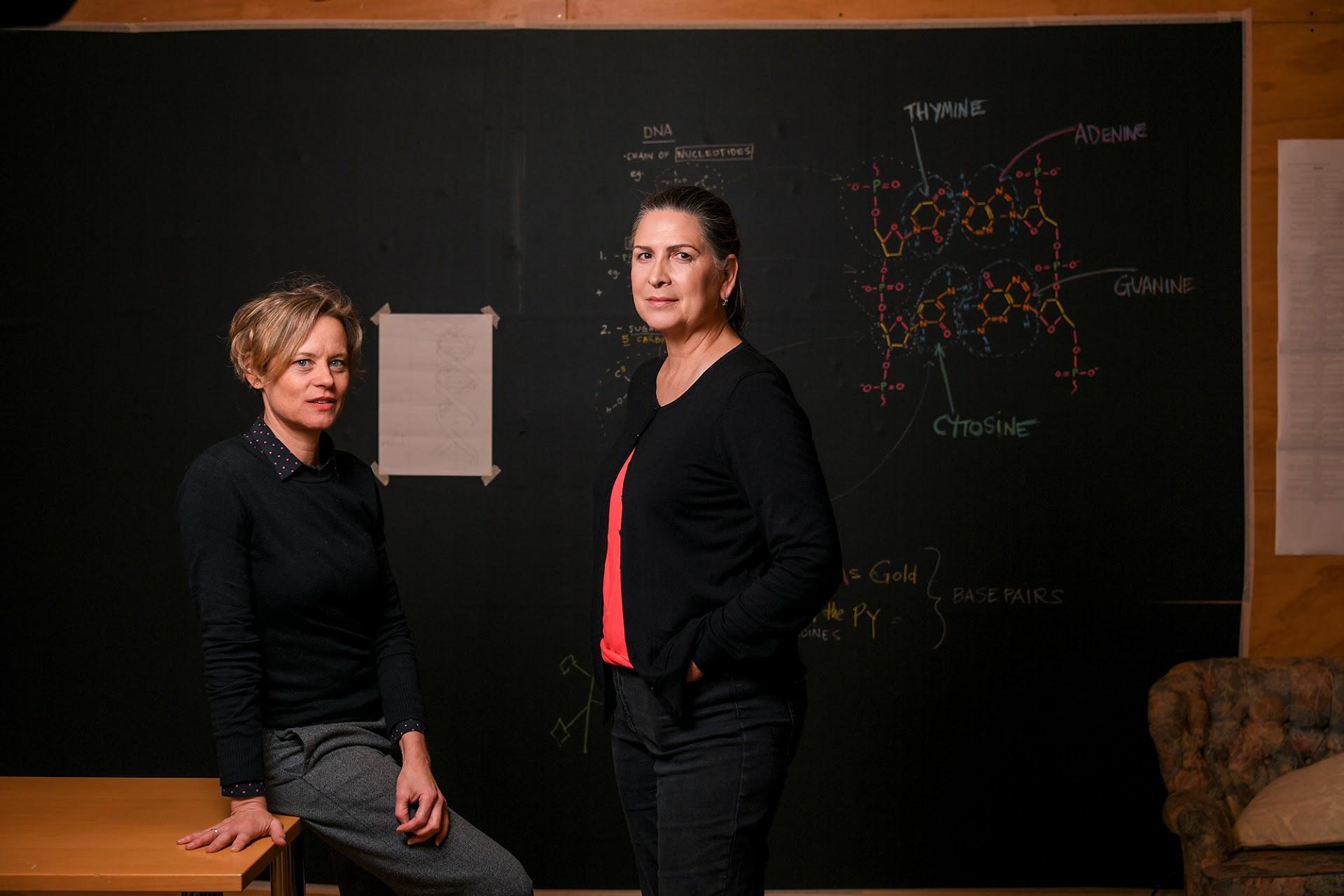 Pamela Rabe and Nadine Garner during a break in rehearsals. Photo: Eddie Jim