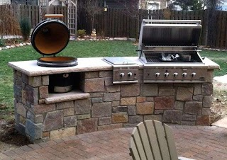 Green Egg Built in Outdoor Kitchen Barbecue Custom with Gas Grill and Big