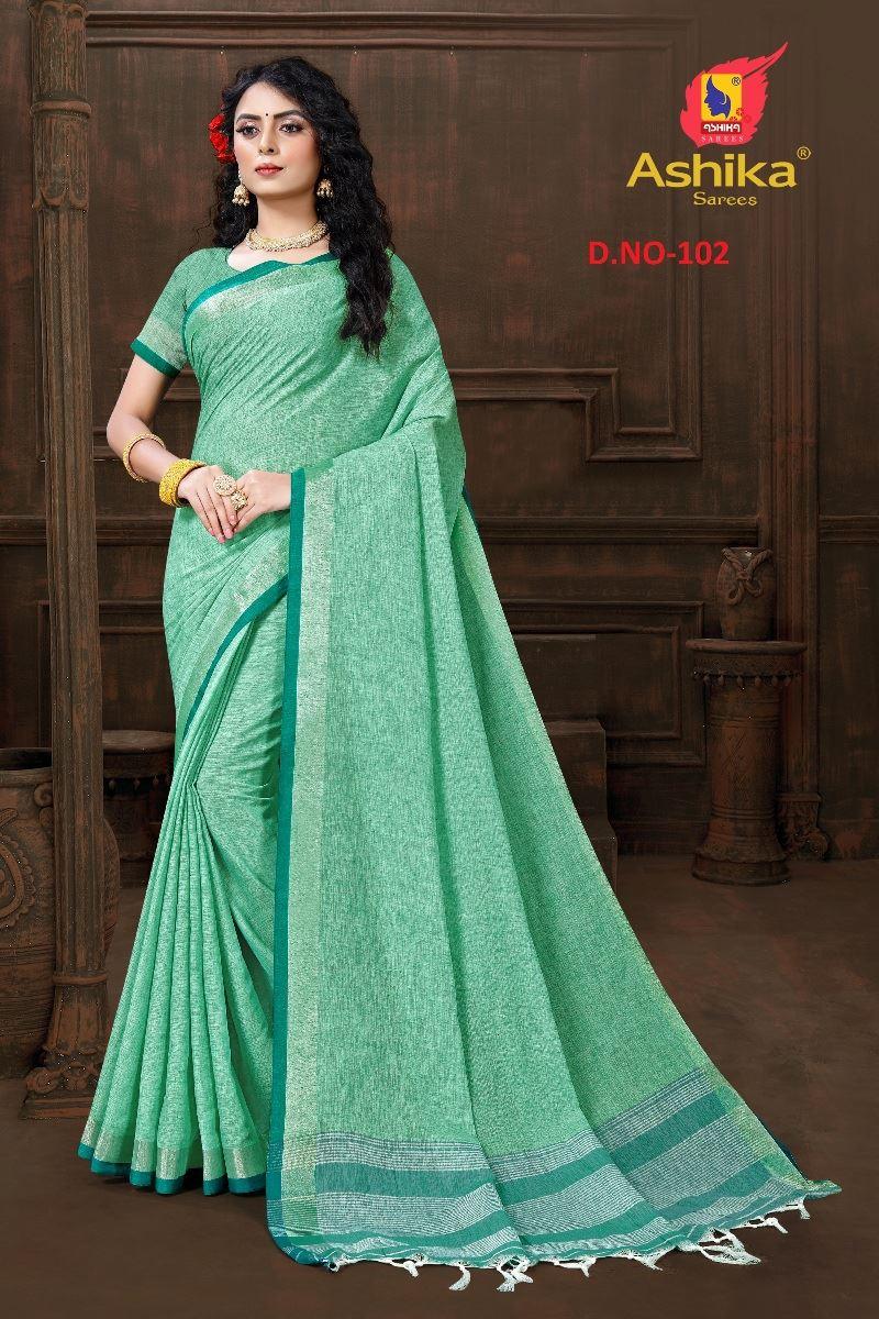 Green Colour Cotton Linen Saree