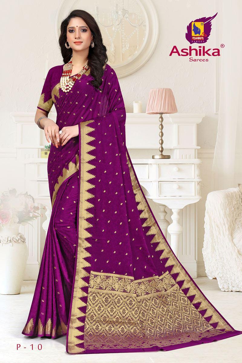 Purple Color Crepe Fabric Function Wear Weaving Work Saree