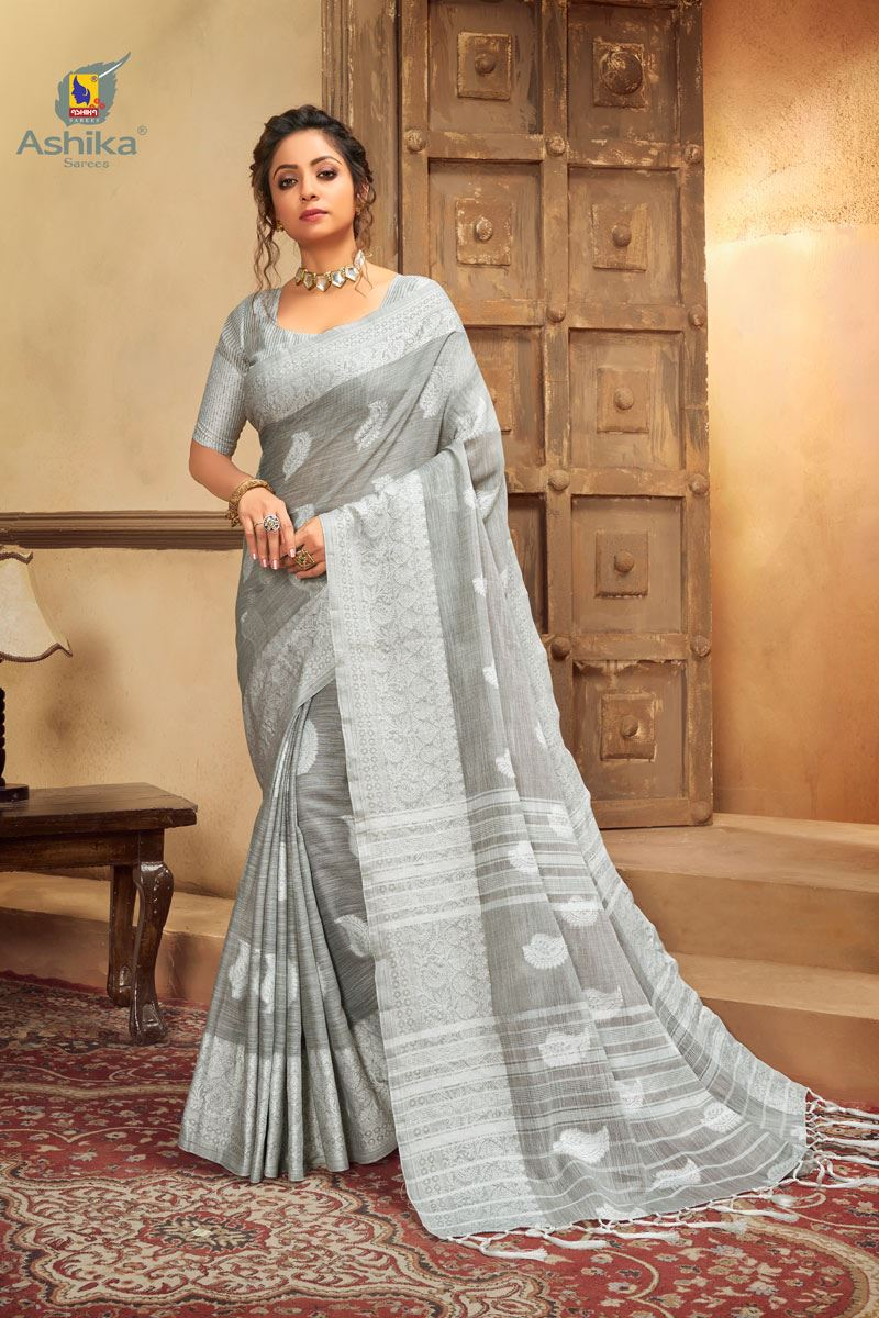 Grey Color Cotton Linen Fabric Stylish Resham Work Saree