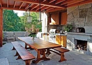 Rustic Outdoor Kitchen in Camden Maine Contemporary Patio
