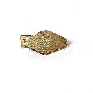 14K Gold 'M' Monogram Clip