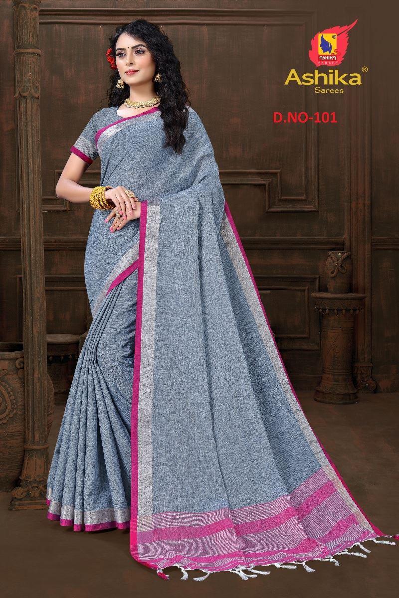 Grey Colour Cotton Linen Saree