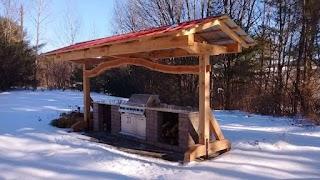 Timber Frame Outdoor Kitchen Shelter For
