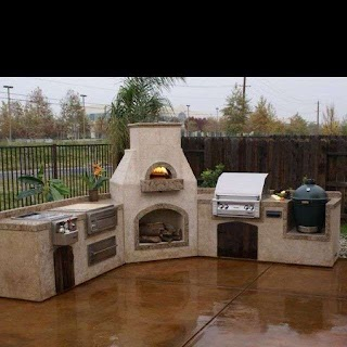 Pizza Oven Outdoor Kitchen W a Wood Burning Fireplace In