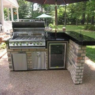 Outdoor Kitchen Bbq Kits This Lshaped Features a Bar Counter Sitting Area