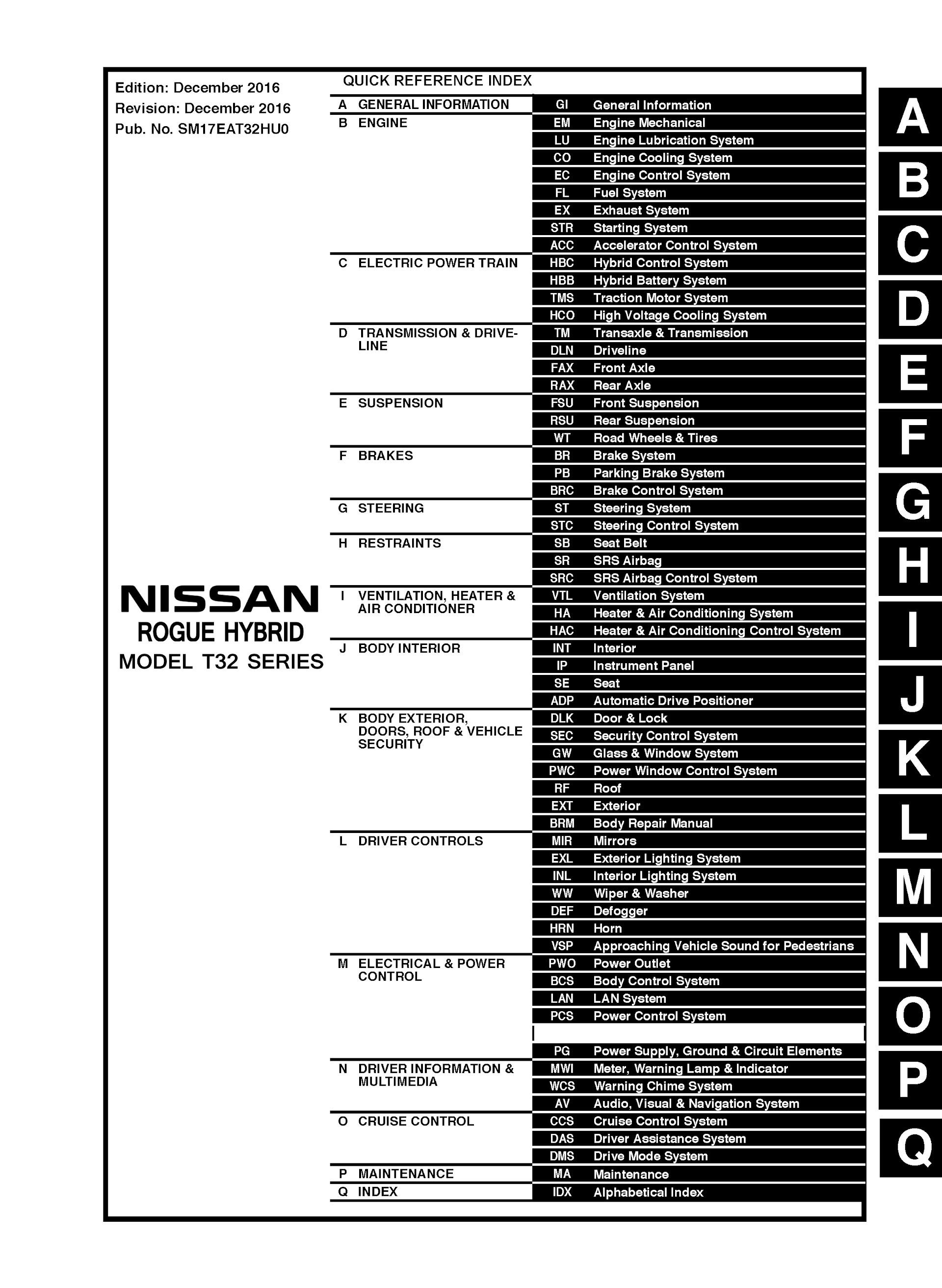 Download 2017-2020 Nissan Rogue Hybrid T32 Repair Manual