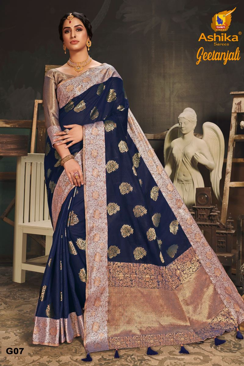 Navy Blue Color Cotton Silk Fabric Trendy Weaving Work Saree