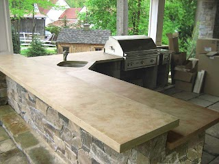 Outdoor Kitchen Concrete Countertops Ligth Brown Traditional
