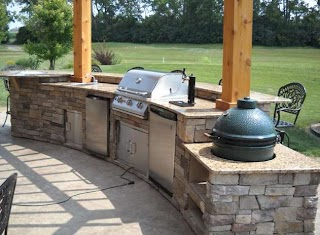 Green Egg Built in Outdoor Kitchen Golf Course The Background of This Beautiful Open