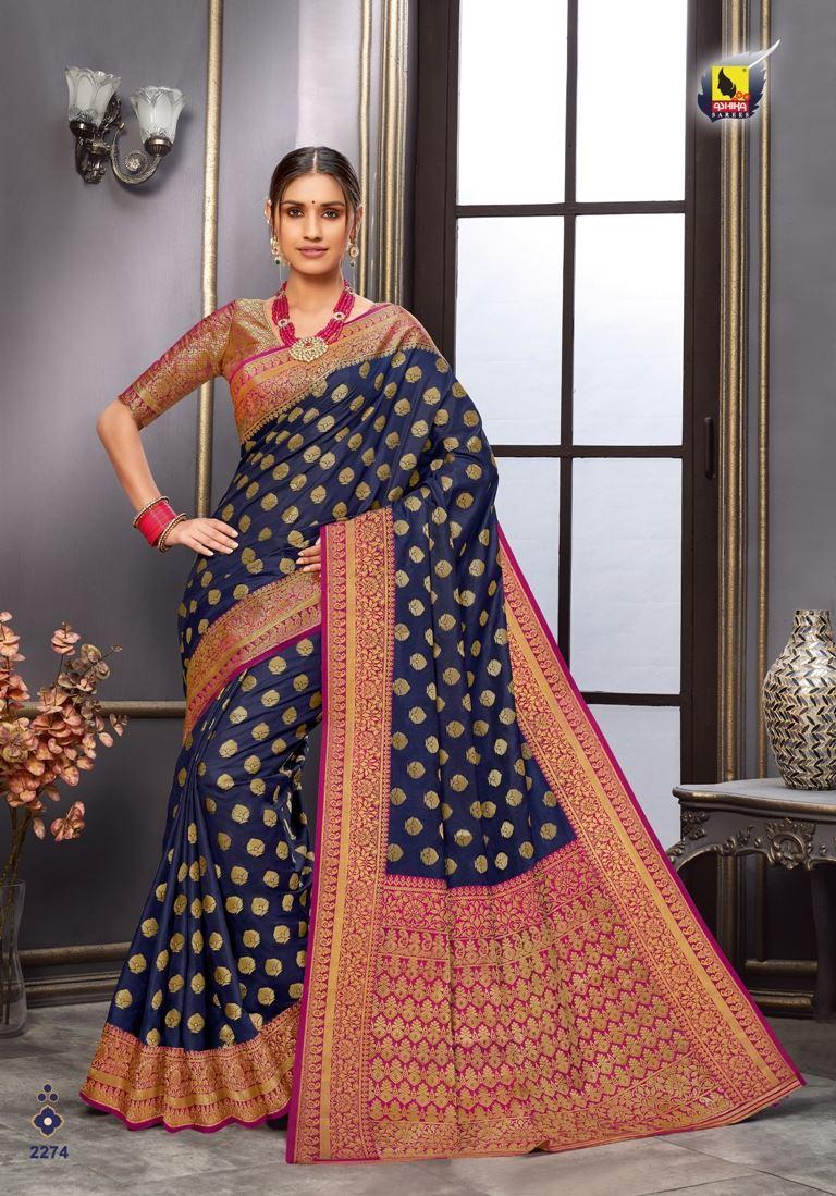 Navy Blue Color Tussar Silk Fabric Fancy Saree