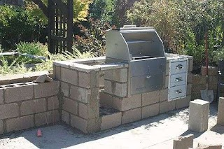 Cinder Block Outdoor Kitchen Concrete Fireplace Construction