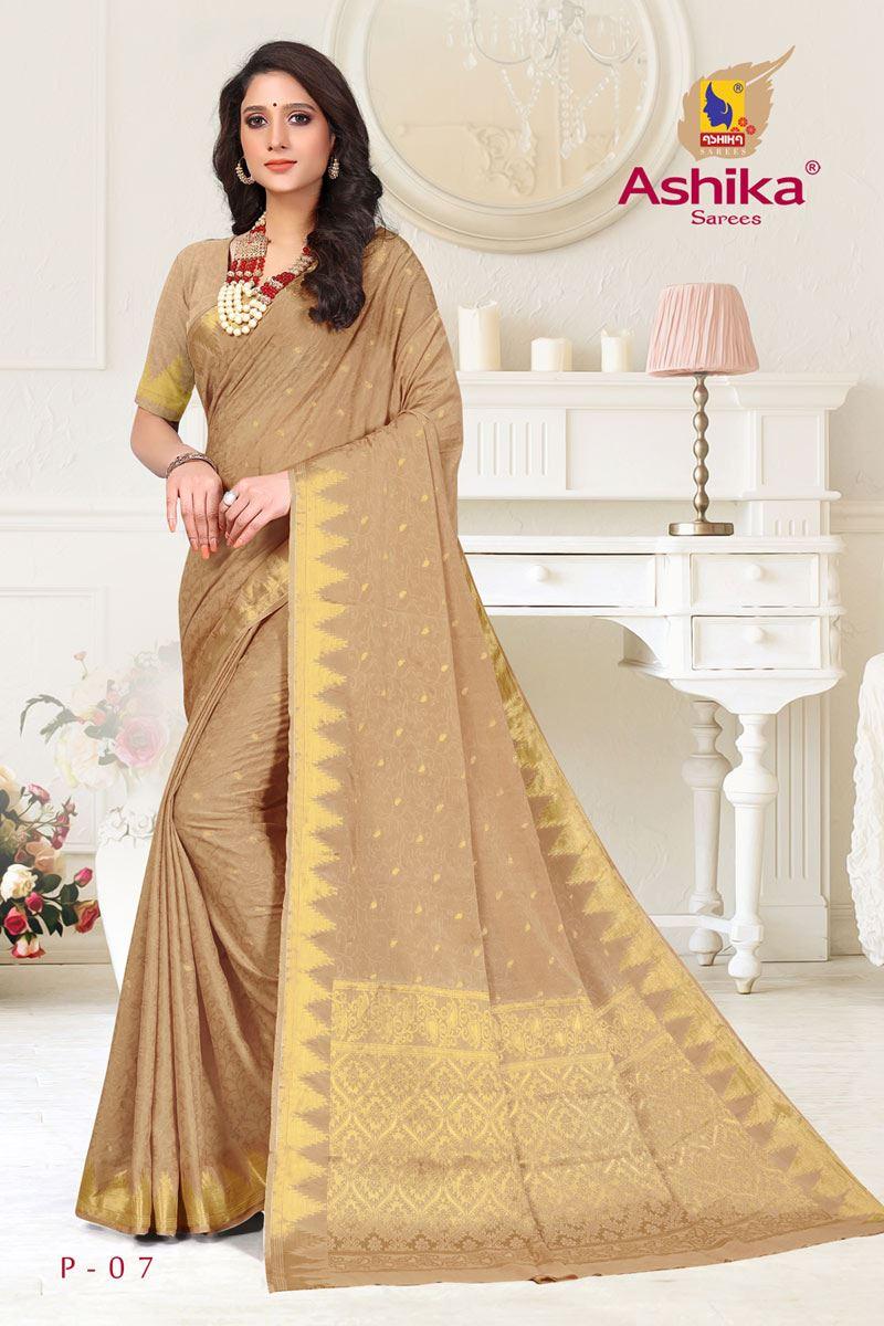 Dark Beige Color Crepe Fabric Function Wear Weaving Work Saree