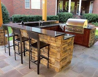 Outdoor Kitchen Bars U Shape Island with Bar Top and Pergola Built Over