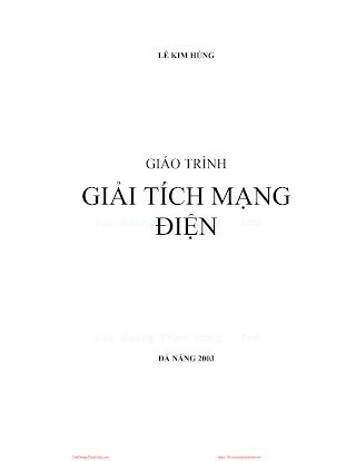 Giáo Trình Giải Tích Mạng Điện 2003 - Lê Kim Hùng, 143 Trang.pdf