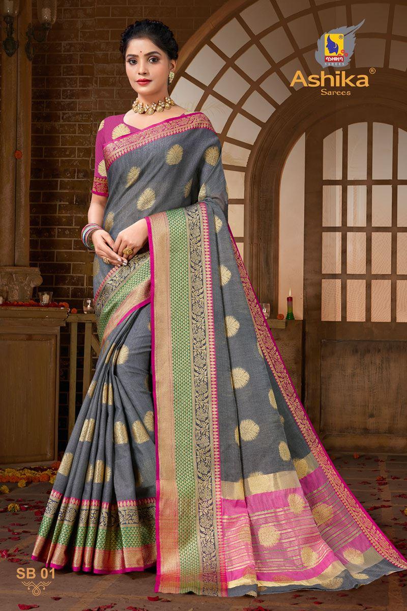 Grey Color Zari Work Designer Cotton Silk Fabric Function Wear Saree